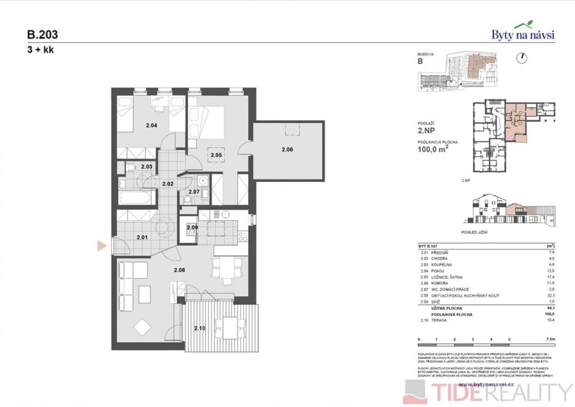 Byt 3+kk + pracovna, výměrou 100 m2, terasa 10 m2, Dolní Měcholupy, ul. Na Návsi