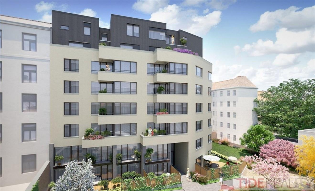 Pronájem slunečného, rozlehlého bytu 3+kk s terasou v novostavbě u Václavského náměstí, Praha 1, Krakovská ul.